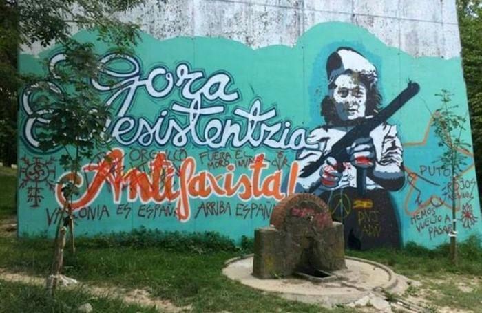 Ezezagun batzuk Artxandan dagoen mural antifaxista eraso dute