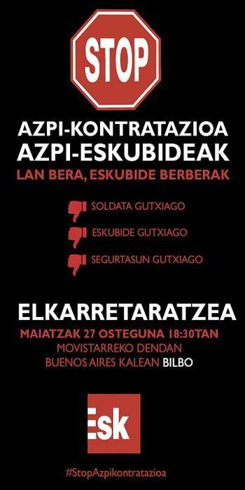 ESK Sindikatuak Telefonika-Movistarren azpikontratazioen aurkako mobilizazioa deitu du gaur