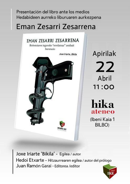 """Joxe Iriarte 'Bikila'-k """"Eman Zesarri Zesarrena"""" liburua aurkeztuko du bihar"""