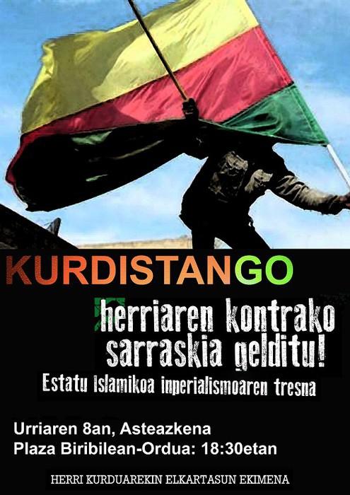 Kurdistan eta Rojavari babesa agertzeko elkarretaratzea deitu dute
