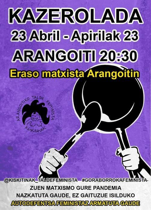 Asteartean gertatutako eraso matxista bat salatu du Arangoitiko Kiskitiñak talde feministak