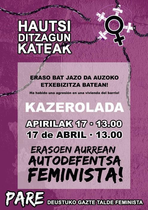 Deustun gertatutako eraso matxista salatu du Pare Gazte Talde Feministak