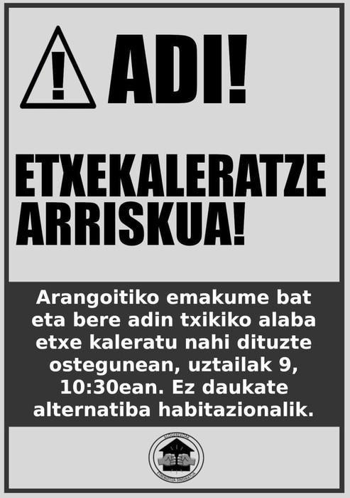 Arangoitiko familia bat kaleratze arriskuan dago