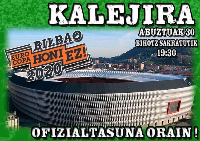 """""""Bilbao 2020 Eurokopa honi ez"""" dinamikak kalejira deitu du ostiralean"""