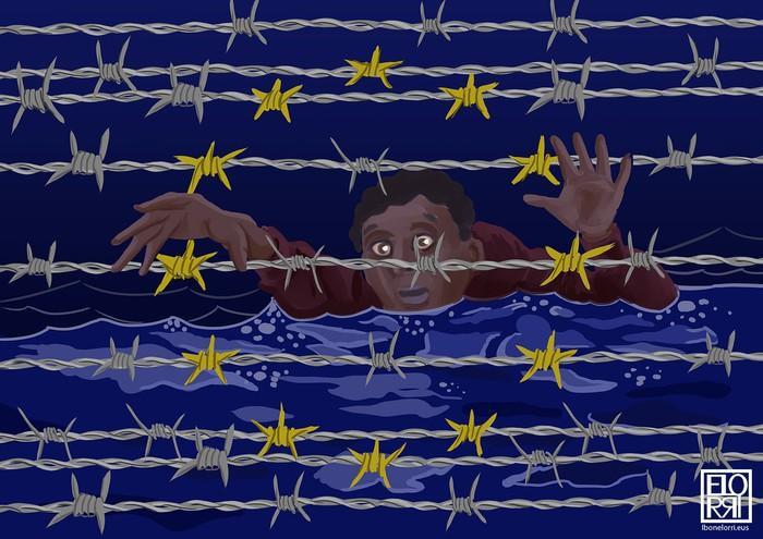 'Refugees' lives matter' Ibon Elorrietaren ilustrazioa