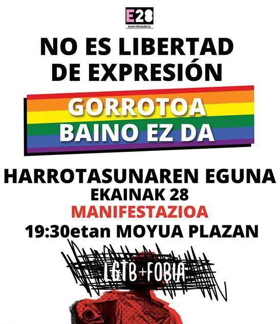 LGTBfobiaren kontra borrokatzeko ekainaren 28an manifestazioa antolatu dute