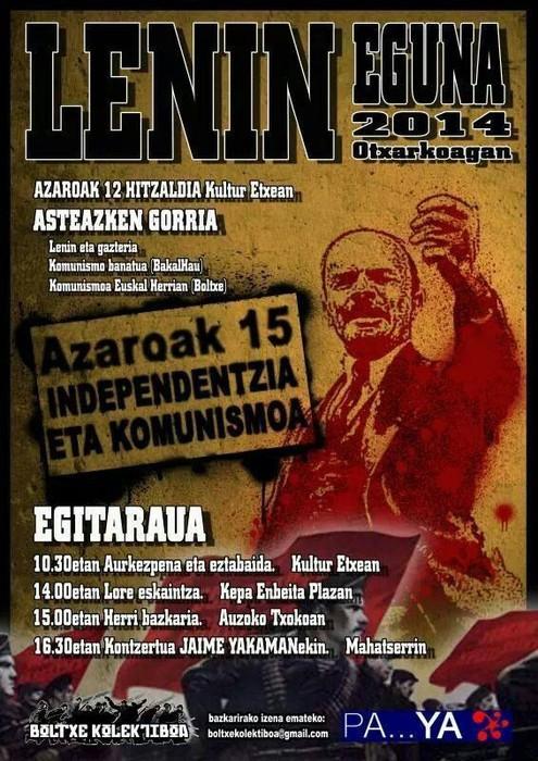 Lenin Eguna ospatuko dute larunbatean Otxarkoagan