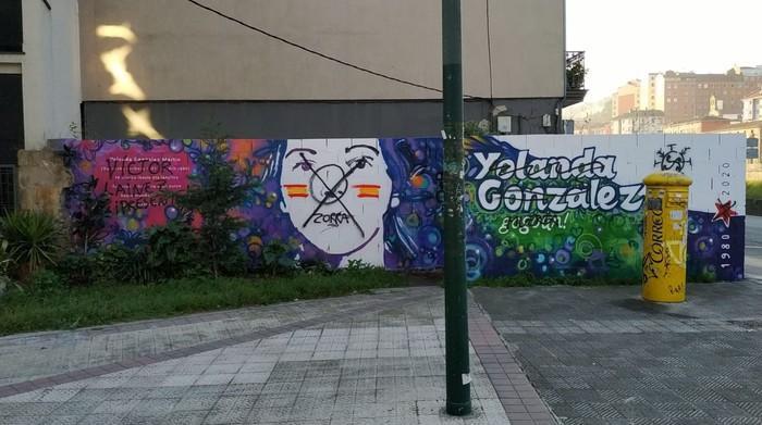 Yolanda Gonzalezen muralari egindako eraso faxista salatu du Erribera Auzo Elkarteak