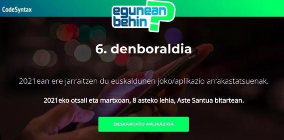 """Astelehenean hasiko da """"Egunean Behin"""" lehiaketaren seigarren denboraldia"""