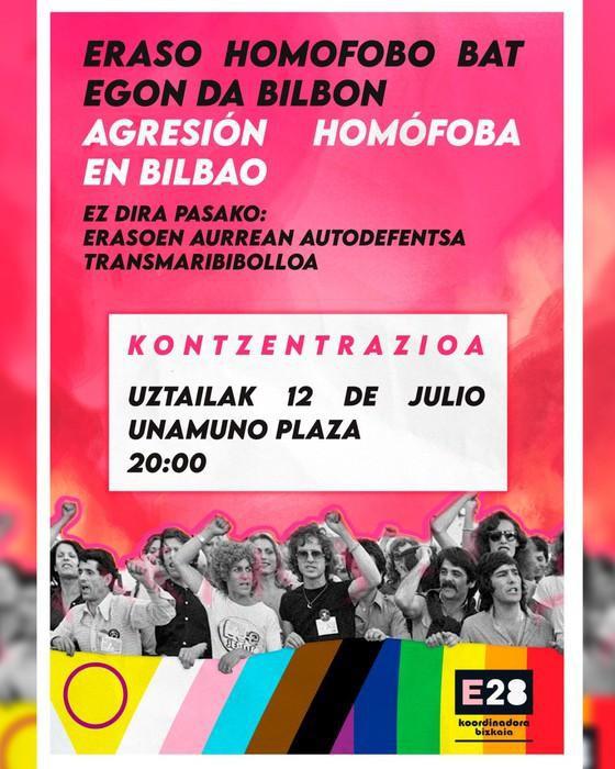 Asteburuan gertatutako eraso homofoboa salatzeko kontzentrazioa egingo dute gaur Unamuno plazan