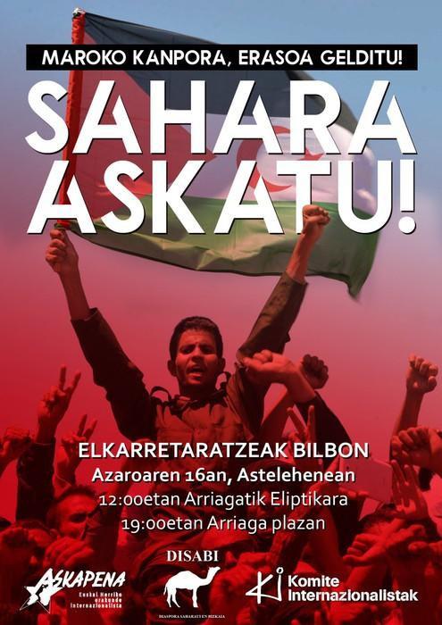 Sahararen aldeko mobilizazioak egingo dituzte gaur Bilbon