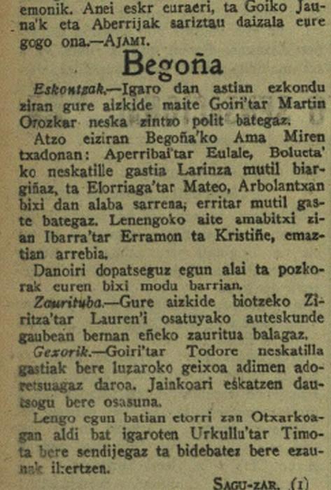Begoñako euskal kazetaritzak, ehun urte (I)