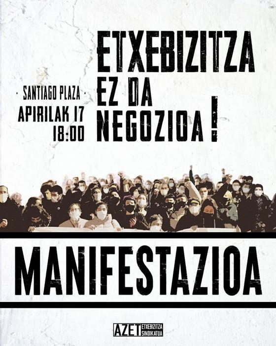 Espekulazioaren kontrako manifestazioa deitu du AZETek larunbatean