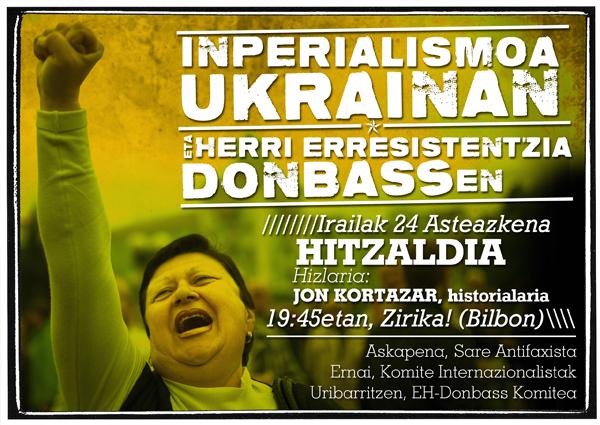 'Inperialismoa Ukrainan eta herri erresistentzia Donbassen' hitzaldia Bilbon